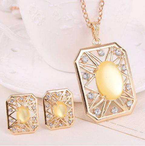 Hot Rhinestone Artificial Opal Necklace and Earrings - YELLOW  Mobile