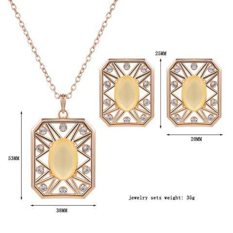 Outfits Rhinestone Artificial Opal Necklace and Earrings - YELLOW  Mobile
