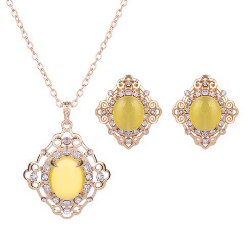 Hot Rhinestone Artificial Gemstone Necklace and Earrings