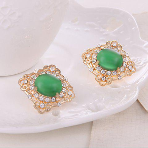 Fancy Rhinestone Artificial Gemstone Necklace and Earrings - GREEN  Mobile
