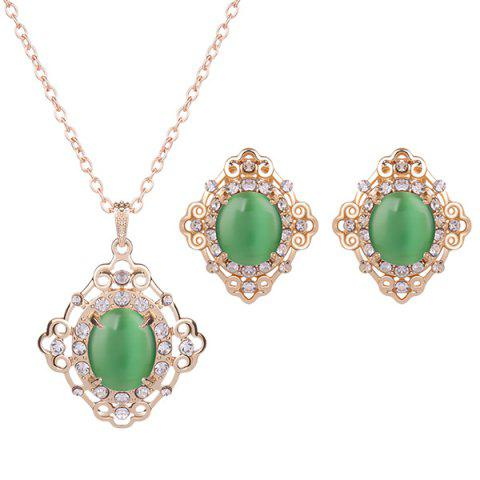 Fashion Rhinestone Artificial Gemstone Necklace and Earrings - GREEN  Mobile
