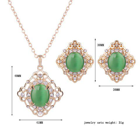 Store Rhinestone Artificial Gemstone Necklace and Earrings - GREEN  Mobile