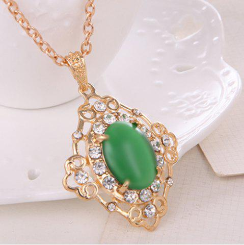 Discount Rhinestone Artificial Gemstone Necklace and Earrings - GREEN  Mobile