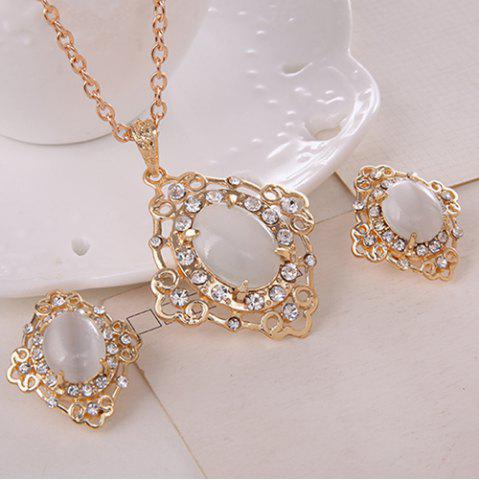 Outfits Rhinestone Artificial Gemstone Necklace and Earrings - WHITE  Mobile