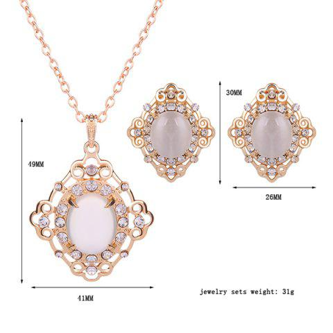 Unique Rhinestone Artificial Gemstone Necklace and Earrings - WHITE  Mobile
