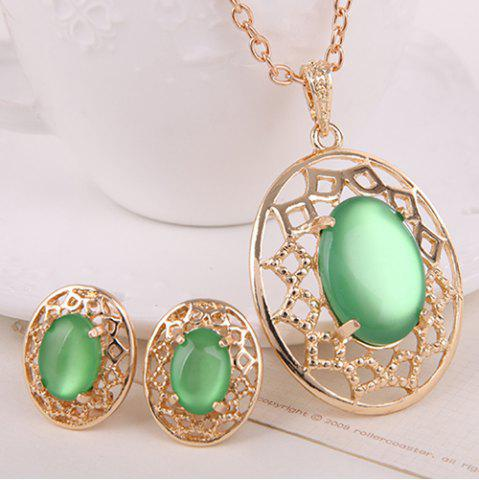Fancy Artificial Gemstone Oval Necklace and Earrings - GREEN  Mobile