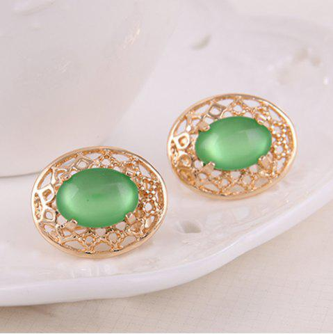Unique Artificial Gemstone Oval Necklace and Earrings - GREEN  Mobile