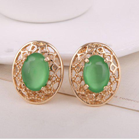 Shop Artificial Gemstone Oval Necklace and Earrings - GREEN  Mobile
