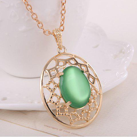 Store Artificial Gemstone Oval Necklace and Earrings - GREEN  Mobile