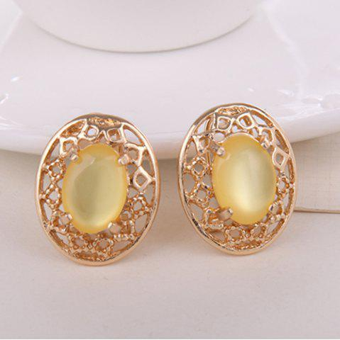 Unique Artificial Gemstone Oval Necklace and Earrings - YELLOW  Mobile