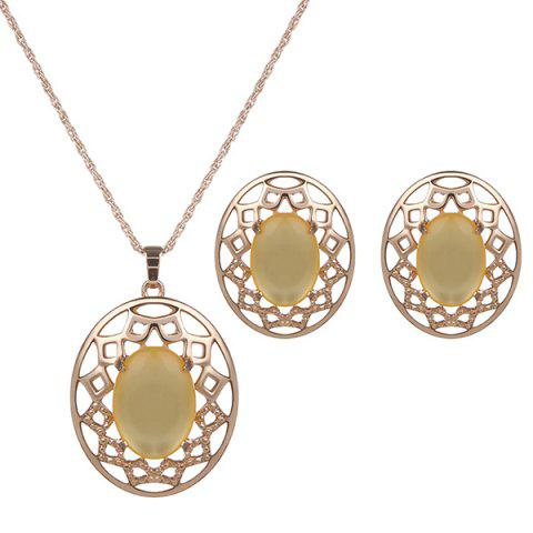 Fancy Artificial Gemstone Oval Necklace and Earrings YELLOW