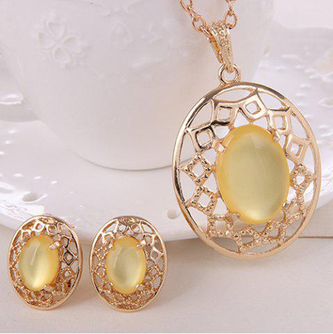 Store Artificial Gemstone Oval Necklace and Earrings - YELLOW  Mobile