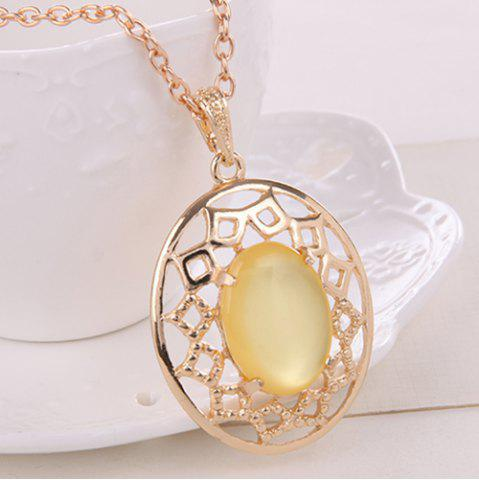 Shop Artificial Gemstone Oval Necklace and Earrings - YELLOW  Mobile