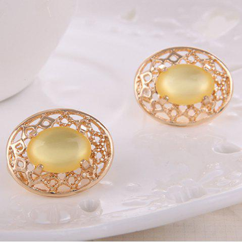 Chic Artificial Gemstone Oval Necklace and Earrings - YELLOW  Mobile
