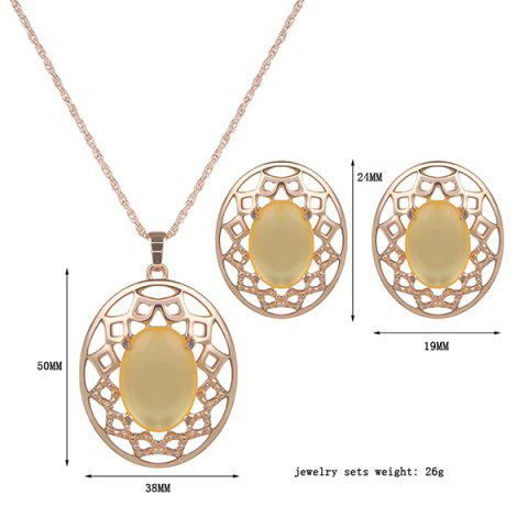 Latest Artificial Gemstone Oval Necklace and Earrings - YELLOW  Mobile