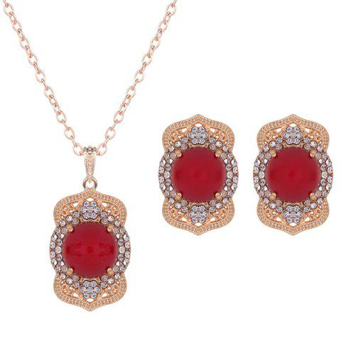 Rhinestoned Bead Necklace and Earrings - RED