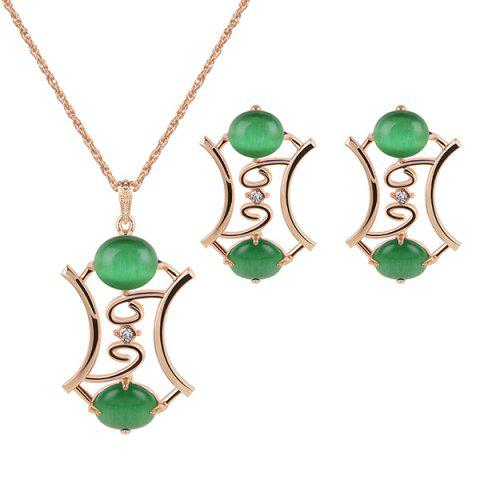 Faux Jade Gem Pendant Necklace and Earrings - Green