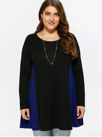 Chic Plus Size Patchwork Long Sleeve Tee