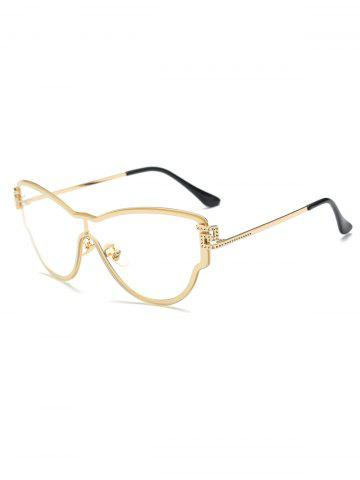 Chic Transparent Lens Butterfly Wrap Sunglasses with Dotted Carved