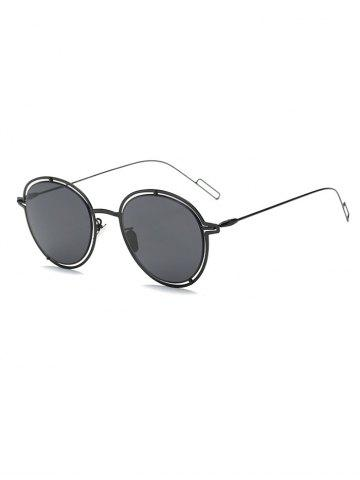 Latest Hollow Out Double Rims Metal Oval Sunglasses BLACK