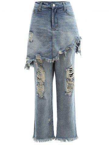 Unique Frayed Ripped Skirted Jeans