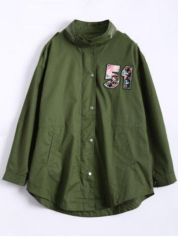 Number Patch Plus Size Trench Coat - Army Green - L