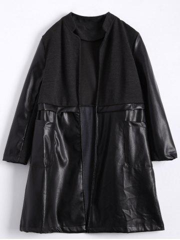 Fashion Stand Neck PU Leather Panel Plus Size Coat BLACK 4XL