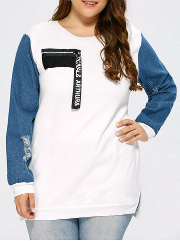 Sale Distressed Plus Size Panel Sweatshirt with Zipper