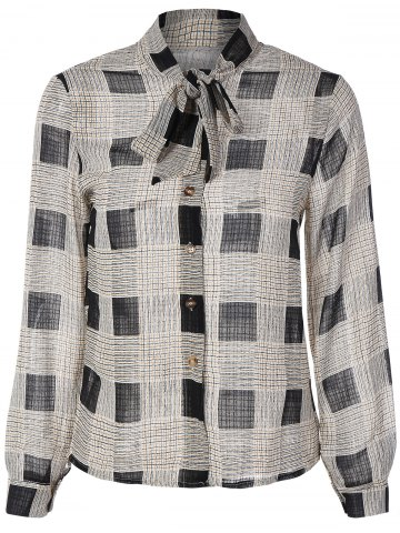 Chic Bow Tie Collar Checkered Print Shirt