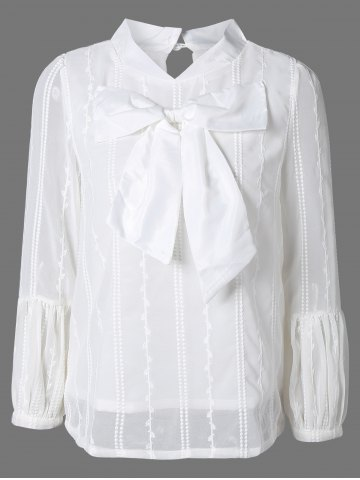 Sale Big Bowknot Puff Sleeve Chiffon Blouse