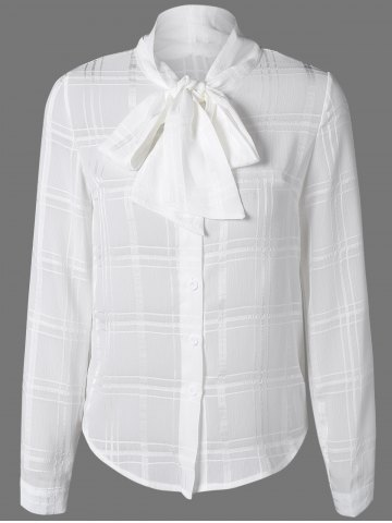 Outfits Plaid Chiffon Blouse with Bow Tie Collar WHITE 2XL