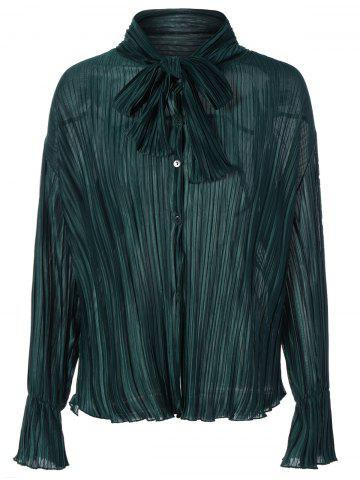 Online Bow Tie Collar Flare Sleeve Pleated Blouse BLACKISH GREEN ONE SIZE