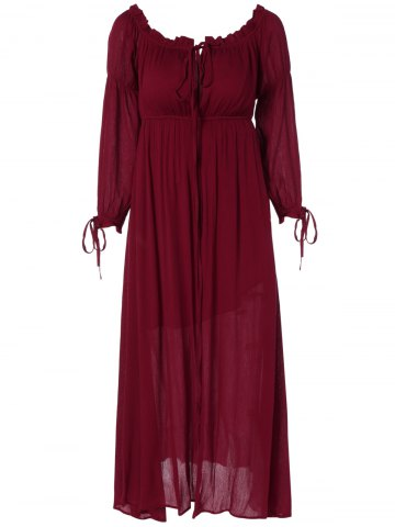 Online Lace Up Ruffles Empire Waist Maxi Dress WINE RED L