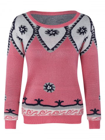 Online Round Neck Geometric Pattern Sweater PINK ONE SIZE