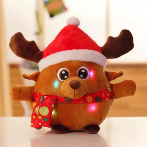 Chic Christmas Decoration Singing Glowing Elk Kids Plush Toy EARTHY