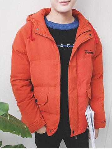 Outfits Zip Up Embroidered Hooded Puffer Jacket