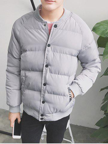 Chic Button Up Stand Collar Applique Puffer Jacket