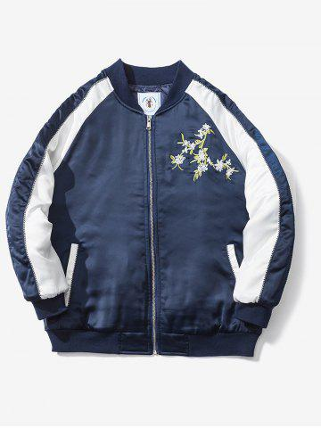 Chic Floral Embroidery Raglan Sleeve Souvenir Jacket