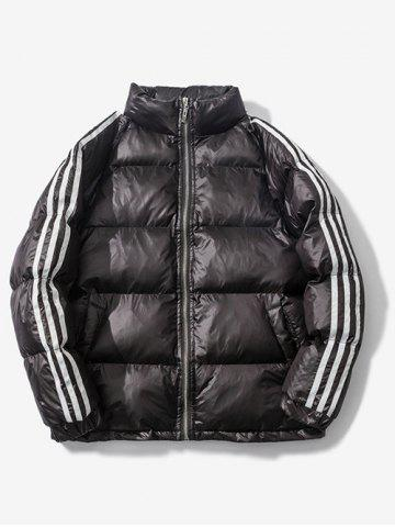 Stand Collar Striped Raglan Sleeve Quilted Jacket