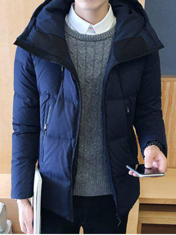 Discount Zipper Design Hooded Puffer Jacket