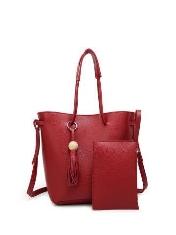 Best PU Leather Wood Ball Tassel Shoulder Bag