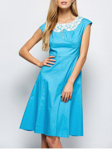 Discount Lace Insert Button Cap Sleeve Dress