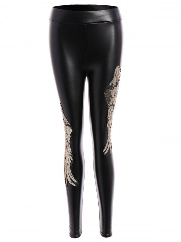 Discount Sequins Wing Beam Feet Faux Leather Leggings - M GOLDEN Mobile