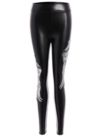 Sale Sequins Wing Beam Feet Faux Leather Leggings - M SILVER Mobile