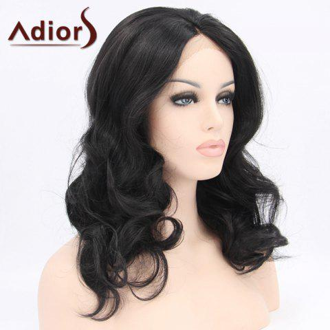 Store Adiors Hair Medium Wavy Lace Front Synthetic Wig - BLACK  Mobile
