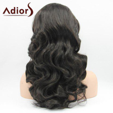 Discount Adiors Hair Long Wavy Lace Front Synthetic Wig - BLACK  Mobile