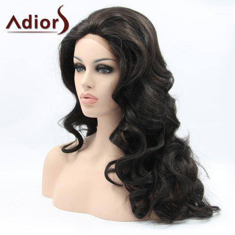 Best Adiors Hair Long Wavy Lace Front Synthetic Wig - BLACK  Mobile