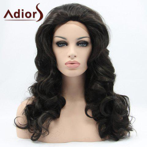 Unique Adiors Hair Long Wavy Lace Front Synthetic Wig - BLACK  Mobile