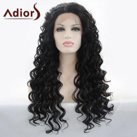 Discount Adiors Hair Gorgeous Long Curly Lace Front Synthetic Wig - BLACK  Mobile
