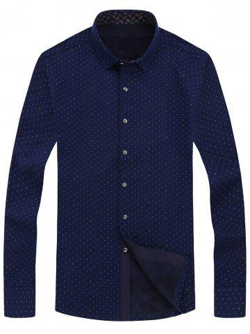 Chic Tiny Crescent Print Button Front Flocking Shirt